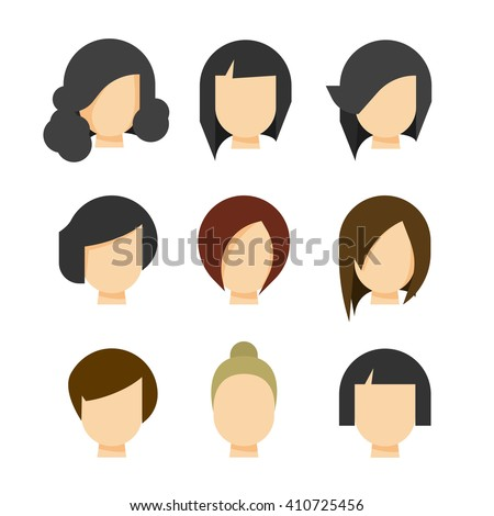 Hair styling illustration isolated on white background, haircut set on woman head silhouette, hair abstract model flat cartoon shapes design image - stock photo