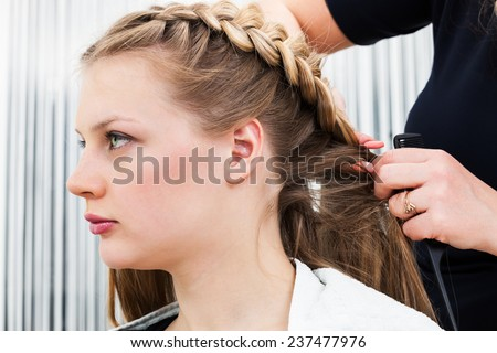 hair styling in a modern barber shop - stock photo