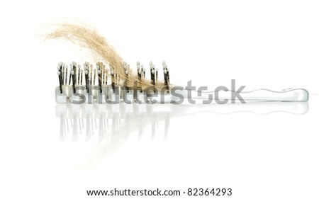Hairbrush with lock of hair loss and mirror reflection isolated on white background with copy space - stock photo