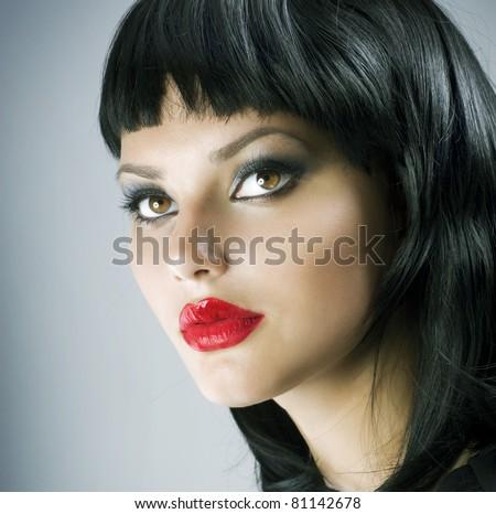 Haircut. Hairstyle.Beautiful Brunette Girl.Luxury Makeup - stock photo