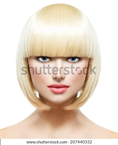 Haircut. Hairstyle. Fringe. Fashion Stylish Beauty Portrait with White Short Hair. Beautiful Girl's Face Close-up.  Professional Makeup. Make-up. Bob hairstyle Woman. Isolated on a White Background. - stock photo