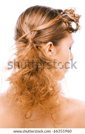 Hairdress of beautiful young woman, rear view, on white background. - stock photo