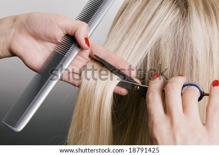 hairdresser cutting blonde hair. closeup over grey background - stock photo