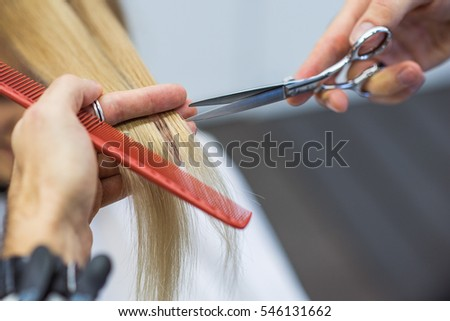 Hairdresser is cutting long hair