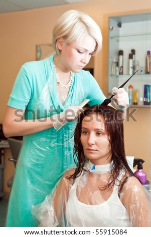 Hairdresser paints to the girl hair - stock photo