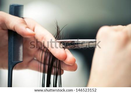 Hairdresser's hands cutting hair. - stock photo