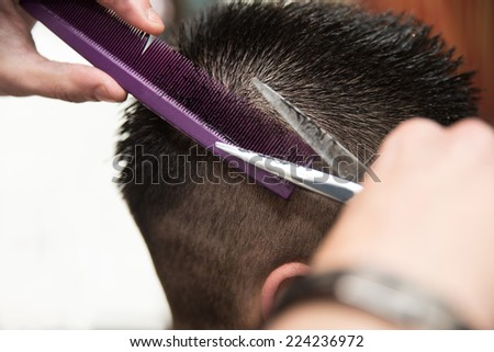 Hairdresser's Hands Cutting Hair - Handsome Young Hairdresser Giving A New Haircut To Male Customer At Parlor - stock photo