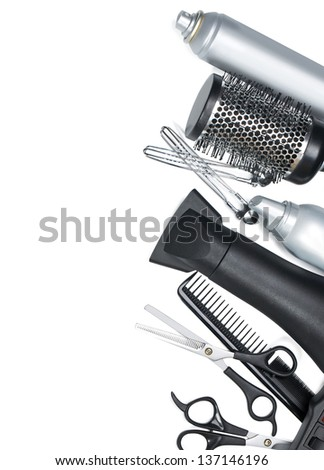 hairdresser scissors, combs and brush on white background - stock photo