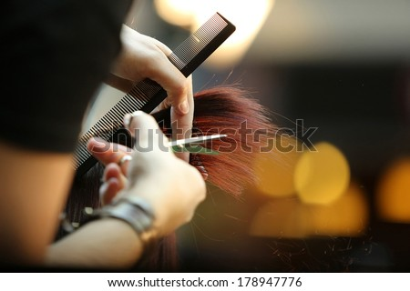 Hairdresser trimming brown hair with scissors - stock photo