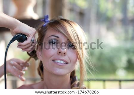hairdresser woman - stock photo