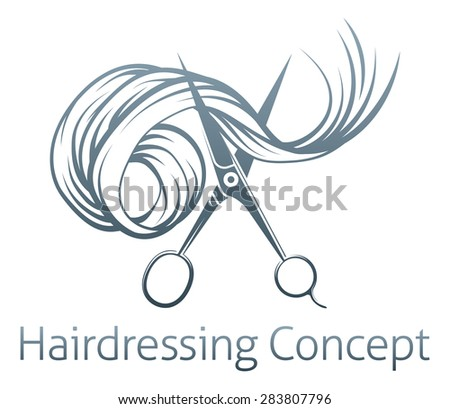 Hairdressers Scissors Concept of a pair of hairdressers scissors cutting Hair - stock photo