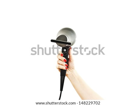 Hairdryer in hand. Isolated on white background - stock photo