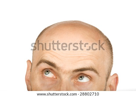 Hairless isolated man with green eyes on white background
