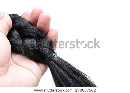 hairline of asia people on white background