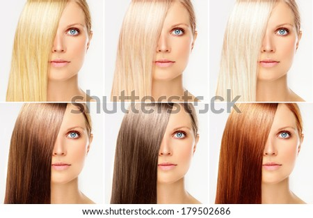 Hairstyle collage - stock photo