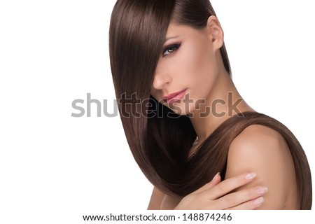 Hairstyle. Portrait of thoughtful young women with beautiful hair looking at camera while isolated on white - stock photo
