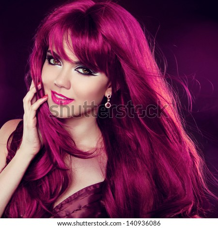 Hairstyle. Red Hair. Fashion Girl Portrait with long Curly Hair. Beauty portrait of woman. - stock photo