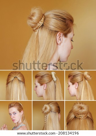 Hairstyle tutorial. Braided bun with chignon - stock photo