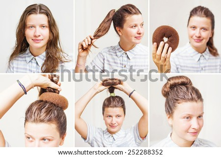 Hairstyle tutorial by beauty blogger. Vintage bun with chignon - stock photo