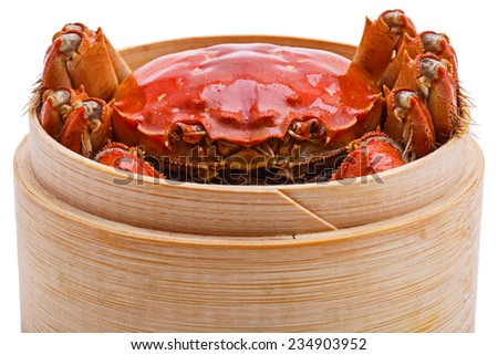 Hairy crabs in Bamboo steamer Isolated on white background - stock photo