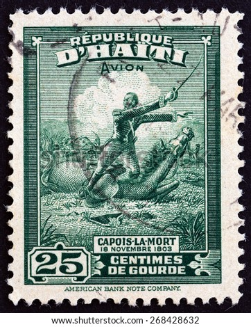 HAITI - CIRCA 1946: A stamp printed in Haiti issued for the 140th Anniversary of the Death of Francois Capois (1766-1806) shows Capois-la-Mort, circa 1946.  - stock photo
