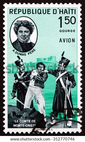 HAITI - CIRCA 1961: a stamp printed in Haiti shows The Count of Monte Christo and General Alexander Dumas Davy de la Pailleterie, General in Revolutionary France, circa 1961 - stock photo