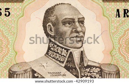 HAITI – CIRCA 1989: Toussaint Louverture on 1 Gourde 1989 Banknote from Haiti.  Louverture was the leader of the Haitian revolution. - stock photo