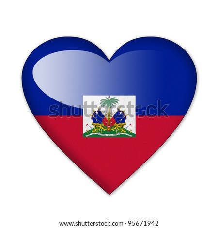 Haiti flag in heart shape isolated on white background stock photo