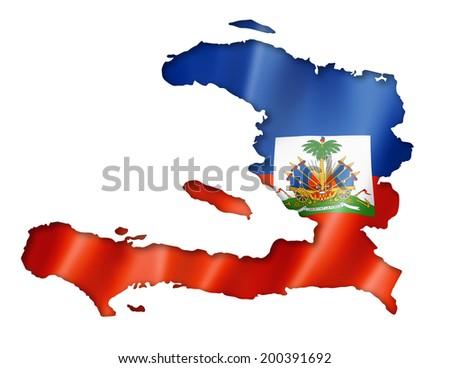 Haiti flag map, three dimensional render, isolated on white - stock photo