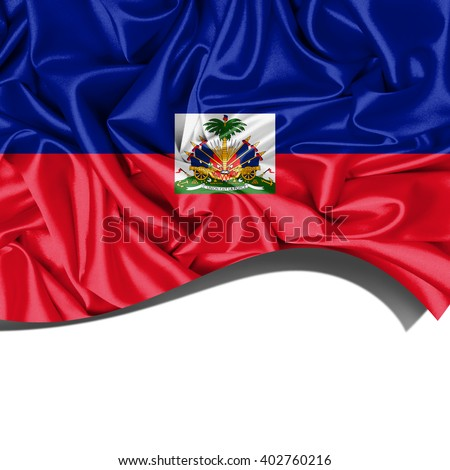 Haiti  flag  of  silk with copyspace for your text or images