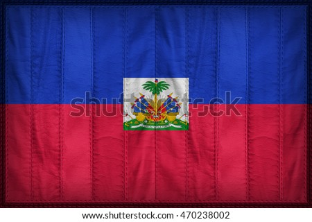 Haiti flag pattern on synthetic leather texture, 3d illustration style