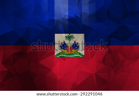 Haiti grunge flag. Vintage and retro style. low polygon texture backgorund