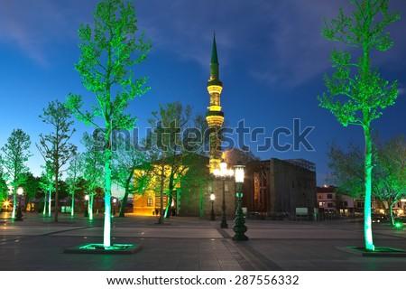 Haji Bayram Mosque at night. Ankara. Turkey. - stock photo