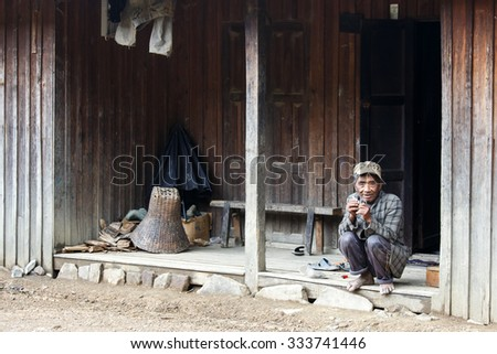HAKHA, MYANMAR - JUNE 19 2015: Local old man in the Hakha region in Chin State, Myanmar. - stock photo