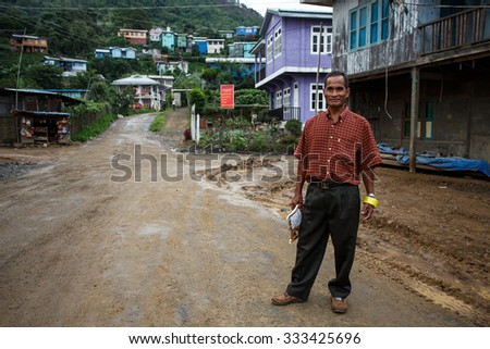 HAKHA, MYANMAR - JUNE 19 2015: Local smart man in the Hakha region in Chin State, Myanmar. - stock photo