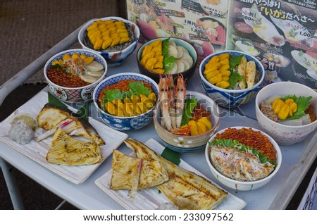 HAKODATE - October 23, 2014 : view of Sushi and Seafood in Hakodate Japan.