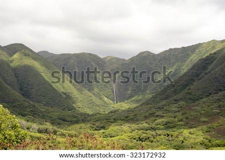 Halawa Valley Falls, Molokai, Hawaii - stock photo