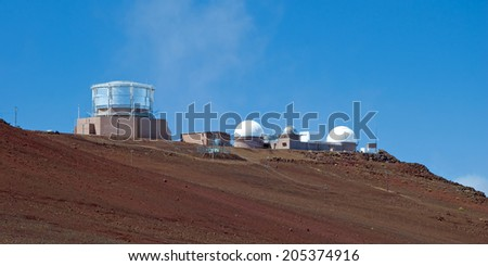 Haleakala Observatory in Haleakala National Park on Maui Island Hawaii panorama - stock photo