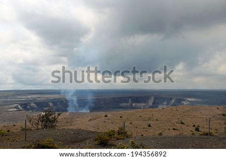 Halema'umau Crater in Volcanoes National Park, Big Island, Hawaii - stock photo