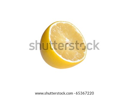 Half a lemon on a white background