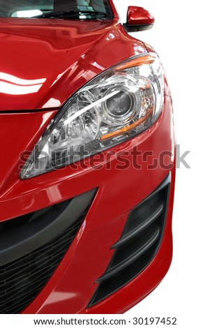 Half a modern red small car, viewed from the front. - stock photo