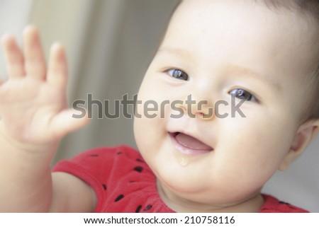 Half American,Half Japanese Baby - stock photo
