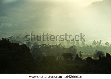 Half an hour to a Sunset in The Andes, Ilinizas Nature Reserve, Ecuador - stock photo