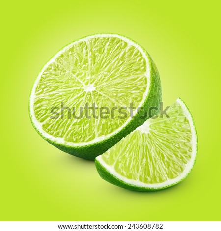 Half and slice of lime citrus fruit with clipping path - stock photo