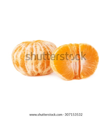 Half and whole fresh juicy peeled cleaned tangerine ripe fruit isolated over the white background