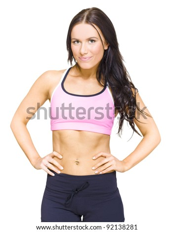 Half Body Portrait Of A Gym Fitness Instructor Standing Proud And Confidently With Hands On Hips In A Personal Fitness Training Health Lifestyle Concept, On White - stock photo