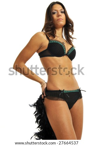 Half body view of young attractive woman in black lingerie, standing. Isolated on white background. - stock photo