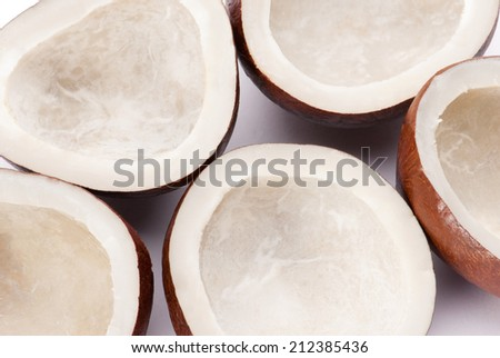 Half broken and full dried Coconut isolated on white background