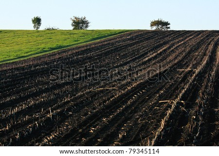 Half burnt farm - stock photo