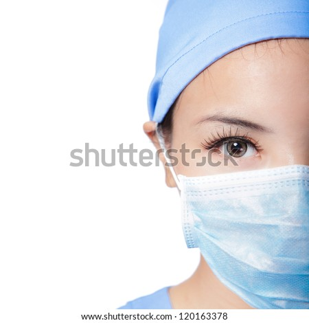 Half Close up portrait of serious woman nurse or doctor face in surgical mask isolated on white background, model is a asian female